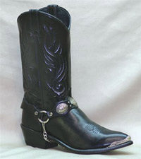 Men's Black Cowhide with Concho Bracelet 12 inch Sage Western Boot 3033